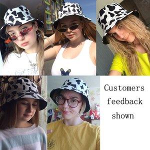 2021 New Fashion Reversible Black White Cow Print Bucket Hat Panama Summer Sun Caps For Women Men Fisherman Hat