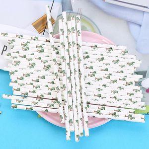 Disposable Paper Straws Creative Eco-friendly Colorful Drink Juice Party Bar Straws DIY Handmade Cake Decor EWF9050