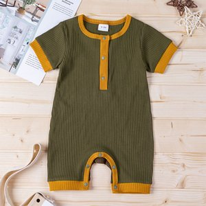 Kids Designer Clothes Baby Rompers Textile Boys Girls Cotton straight angle Jumpsuits Summer Button Onesies Infant short sleeve GWE5590