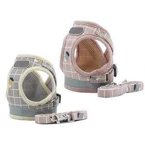 Dog Collars & Leashes Soft Cosy Vest Harness And Leash Set No Pull Escape Proof Breathable Mesh Classic Plaid Back Openable T21C