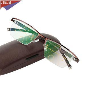 Uomo Smart Zoom Asintoticamente multi-focale Progressive Glass Progressive Glasses di alta qualità Presbiopia Iperopia Bifocal Occhiali da vista Occhiali da sole Occhiali da sole