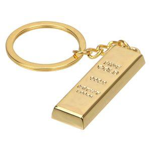 Fashion Car Keyring Creative Gold Bar Keychain Handbag Wallet Pendant Metal Key Holder Bullion Key Rings Auto Accessories