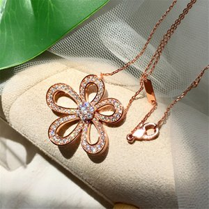2021 Four Leaf Clover Camellia Pendant Clavicle Chain Necklace with Diamonds 18K Gold Fashion Classic for Van Women&Girls Wedding Valentine's Day Jewelry Gifts