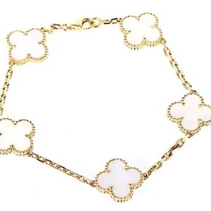 2021 18K Plated Gold Fashion Classic Agate Crystal Four Leaf Clover Bracelets Lucky 4 Leaf Clover Bracelet for Women&Girls Gift with Jewelry