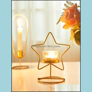Candle Décor & Gardencandle Holders Nordic Gold Iron Candlestick Geometric Tealight Holder Dinner Lights Table Creative Simple Christmas Hom