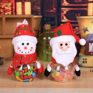 Christmas Candy Jar Plastic Transparent Gift Wrap Box Santa Snowman Elk Christmas Decoration Children Gifts HWD10126
