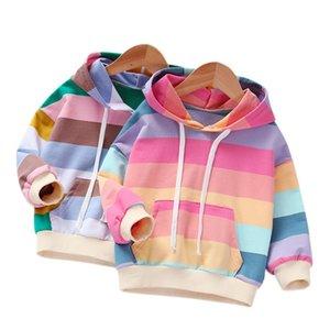 Girls Spring Autumn Children's Clothing Kid's Fashion Sweatshirt Rainbow Stripe Hoodies 201222 106 106 Z2