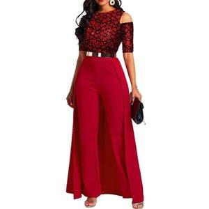 Красные Bodycon Комбинезоты для женщин плюс размер черный кружевной пэчворк половина рукава высокая талия элегантная вечеринка ужин ночной одежда женская