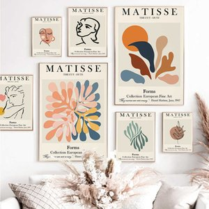 Abstract Matisse Line Face Coral Leaves Wall Art Canvas Painting Nordic Posters And Prints Wall Pictures For Living Room Decor C0929