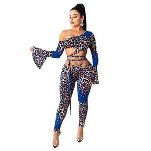 Mujer Leopardo Patchwork 2pcs Tacksuits Summer Sexy Un Hombro Sleeve Sleeve Bandage Huele Out Out Outfits Women Slim High Fashion Sets