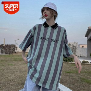 Short-sleeved men and women loose retro woven striped Polo shirt casual fashion couple youth #wH49