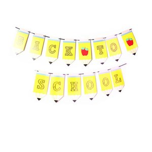Back To School Paper Banner Set Welcome Class Garland Letter Dovetail Flag Pencil Shape Banner Classroom Decor Party Decoration GWE7487