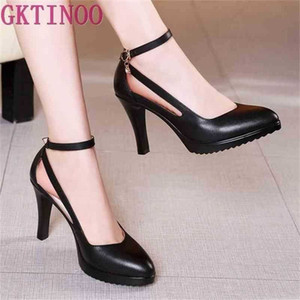 GKTINOO Lady Pumps Pointed Toe Office Buckle Strap Platform High Heels Women Shoes Four Season Leather 210610