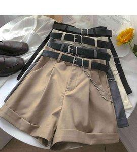 Ashgaily 2021 Nuevos Mujeres Vintage Fajas TODO-Partido Slido Alto Cintura Pantalones Cortos Oaldes XL