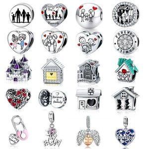 WOSTU Forever Family Charm 925 Sterling Silver Home House Enamel Beads Pendant Fit Original Bracelet DIY Jewelry For Women