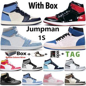 2021 с коробкой jumpman 1 og 1s мужская баскетбольная обувь разводной патент гипер королевский университет синий electro оранжевый счастливый зеленый прототип мужчины женщин кроссовки кроссовки размером 36-46