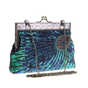 Women Luxurys Beading Bags Handbag Shiny Designer Peacock 2021 Crystal Diamond Sparkly For Rhinestone Evening Party Bag Pattern Purse C Flxn