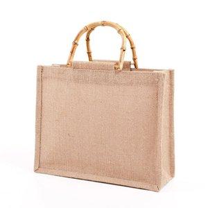 Портативная мешковина джута хозяйственная сумка сумка бамбуковая петли ручки многоразовые помещения для женщин J60D J0510