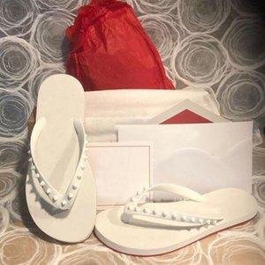 2021Summer Plaj Flats Kırmızı Alt Çevirme Deri Terlik Slayt Sandalet Erkekler Kadınlar Kırmızı Tabanlar Spike Donna Çivili Kauçuk Çevirme Kutusu Boyutu ile 35-46