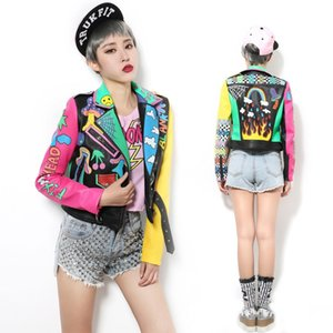 New Crazy style Graffiti Pattern PU Leather for Women Jacket With a Belt and Zippers Woman Motorcycle Short Outwear