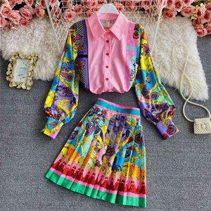 Два куска платье женщины мода роскошные печатные рубашки верхняя + плиссированная мини юбка 2021 весна осенние старинные кнопки с длинным рукавом вечеринка 2 с
