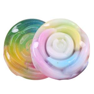 Rainbow Colorful Rose Essential Oil Soap Round Bath Perfume Handmade Moisturizing Soaps 100g