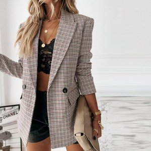 Women's Suits & Blazers Vintage Double Breasted Office Ladies Plaid Blazer Long Loose Jacket Houndstooth Suit Coat Women Female 2021