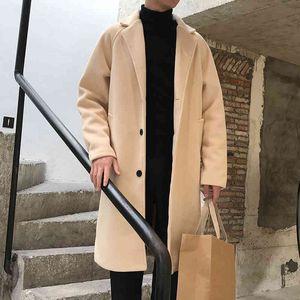 Hoodies 2021 Neue Youzhao Korean Windjacke Herren Stil Herbst Hübsche dünne super lange Wollentrend Mantel