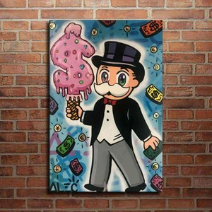 Alec Monopoly Graffiti Handcraft Oil Painting on Canvas,\