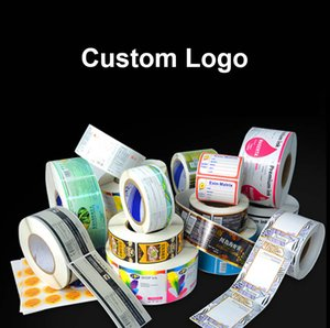 Custom vinyl waterproof front and back package label white BOPP roll adhesive sticker color printing bottle labels Seal Stickers Wedding Accessory Tag