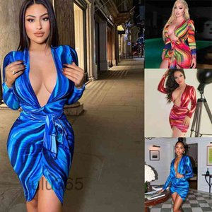 2021 Casual Dresses Women Floral Print Wrapped Mini Dress Sexy Long Sleeve Deep V-neck Tie-up Bodycon Party Club Office Lady Slim lulu365