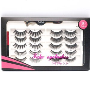 Makeup 10 Pairs Magnetic Self-adhesive False eyelashes Set Mixed Styles 2pcs Liquid Eyeliner with Tweezer No Glue Needed High quality