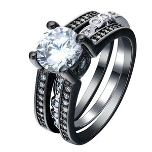 Wedding Rings 2pc Love Vintage Black Gun Promise Sets Luxury Silver Plated Jewelry Czech Zircon Engagement Ring Set For Women