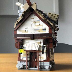 Coche de bloques construcción la calle ciudad pequeña, Tavern Retro Medieval, molo Casa construcción, juguetes