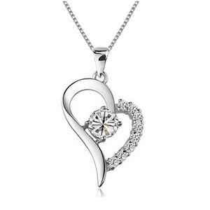 Collar de plata esterlina 2 colores Zircon 18 pulgadas Caja Cadena Corazón Colgante Platino Plateado