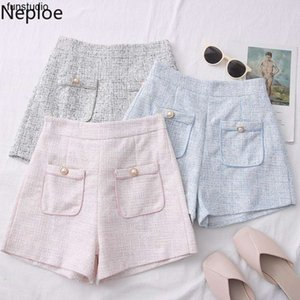 Neploe Tweed Double Pockets High Waist Shorts 2020 New Korean Elegant Short Femme Elegant Wide Leg Women Shorts 4D252