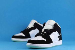 Подлинный jumpman 1 баскетбольные туфли для мужчин и женщин светящиеся панды снизу звездное небо пары спортивные шнурки обуви Оригинальный размер 36--47,5