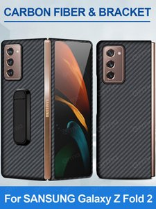 Original Real Pure Carbon Fiber With Holder Back Cover For Galaxy Z Fold2 Fold 2 5G Ultra Thin Shockproof Case Cell Phone Cases