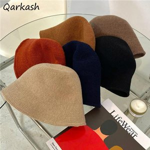 Wide Brim Hats Bucket Women Tender Spring Fall Pure Female Decorate Chic Streetwear Ins College Hipster Retro Simple Ulzzang