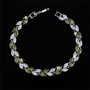 CWWZircons New Trendy 2020 Cubic Zirconia Jewelry Silver Color Leaf Charm CZ Crystal Female Bracelets Bangles for Women CB060 1767 Q2