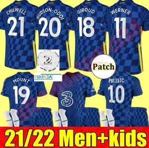 CFC 21 22 Futbol Formaları Giroud Abraham Werner Haertz Chilwell Ziyech Futbol Gömlek Pulisik Camiseta Kante Dağı 2021 2022 Erkekler Kids Kiti