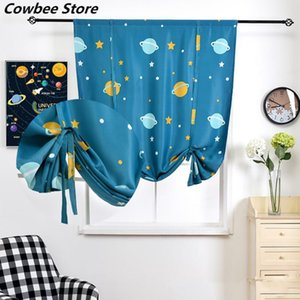 Curtain & Drapes Blackout Roman Curtains Short Style Kitchen Window Cartoon For Children Bedroom Living Room Tie Up