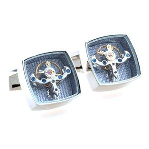 Square Tourbillon Movement 1 Pair Set For Mens Wedding Mechanical Watch Gear Shirt Cuff Suit Sleeve Cufflinks Relojes