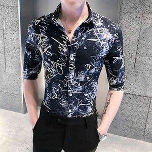 Футболки печатная рубашка из письма лета 2021 год половина рукава мужская повседневная все игры мода тонкий подходящий клуб смокинг свитер homme ur1w