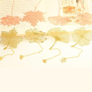 Auviderin 5 15 25 35 50 pz Rose Gold Brass Leaf Bookmark For Wedding Favori Regalo Maple Lotus Ginkgo Clover Party Favori