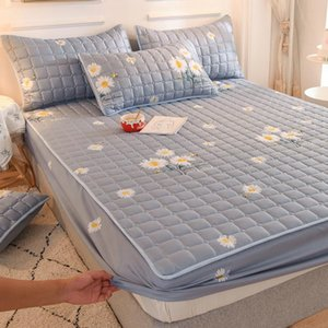 Thicken Quilted Mattress Cover King Queen Bed Fitted Sheet Anti-Bacteria Topper Air-Permeable Pad Sheets & Sets