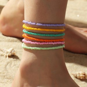 Anklets 6Pcs Set Bohe Colorful Beads For Women Elasticity Foot Jewelry Summer Beach Barefoot Bracelet Ankle On Leg