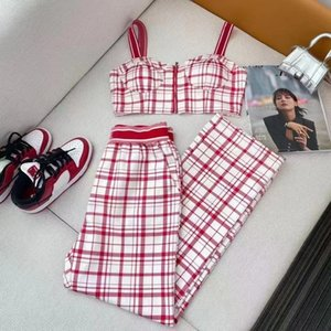 brand women Two Piece Pants pink color Sling vest + wide-leg trousers suit High waist tight and loose size SML