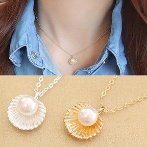 Collana perla La versione coreana di una semplice clavicola Shell Pendant Women Moda Oorbellen Vroor Vrouwen Catene