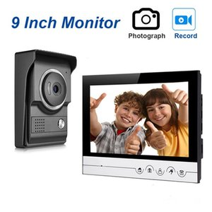 Kinjoin 9''Ench Vidéo Wirefephone Poignée d'interphone de porte d'interphone avec un interphone double voie et une caméra de vision nocturne IR pour la maison privée